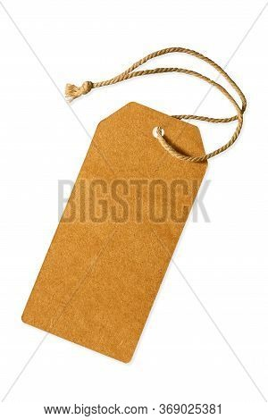 Vintage Lable Paper With Rope For Tag Price Product Isolated On White With Clipping Path.