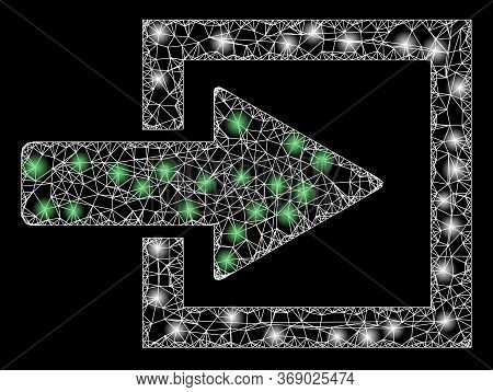 Glowing Web Network Import Arrow With Glowing Spots. Illuminated Vector 2d Constellation Created Fro