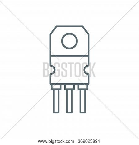 Transistor Chip Vector Icon Symbol Electronic Component Isolated On White Background