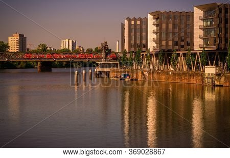 Frankfurt,germany - May 16,2020:westhafen This Is The Wonderful View To The Old Main-neckar-bridge A