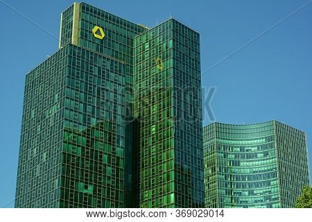 Frankfurt,germany - May 16,2020:grosse Gallusstrasse This Is The Big,modern Commerzbank Tower, A Bus