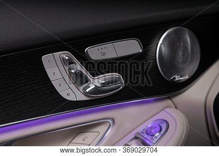 Novosibirsk/ Russia - April 28, 2020:  Mercedes-benz Glc-class, Close-up Of Seat Adjustment Buttons