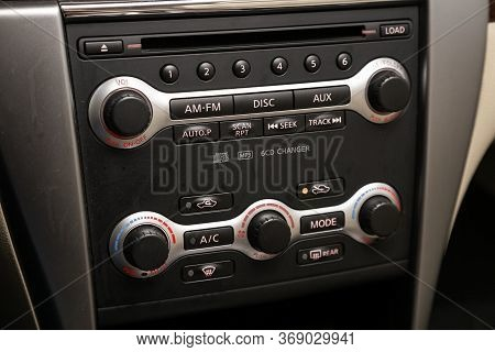 Novosibirsk/ Russia - April 11, 2020:  Nissan Teana,  Close Up Of  Car Panel With  Adjustment Of The