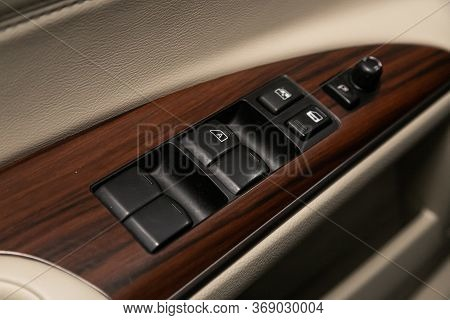 Novosibirsk/ Russia - April 11, 2020:  Nissan Teana, Close-up Of The Side Door Buttons: Window Adjus