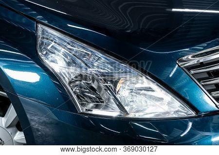 Novosibirsk/ Russia - April 11, 2020:  Nissan Teana, Detail Light Close Up Of On New Car. Exterior D