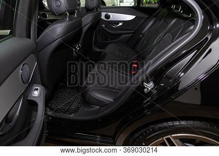 Novosibirsk/ Russia - April 28, 2020:  Mercedes-benz C-class, Comfort Car Inside. Clean Car Interior