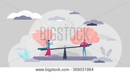 Gut Instincts Vector Illustration. Brain Vs Heart Flat Tiny Persons Concept. Symbolic Creative Scene