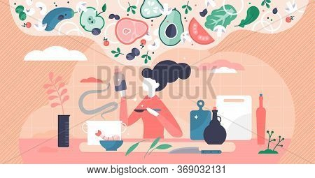 Cooking Vector Illustration. Woman Thinking New Recipe Flat Tiny Person Concepts. Creative Gastronom