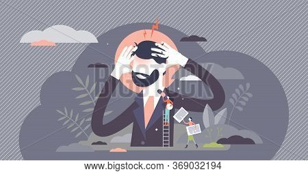 Headache Vector Illustration. Head Pain Feeling Flat Tiny Persons Concept. Migraine Painkillers And
