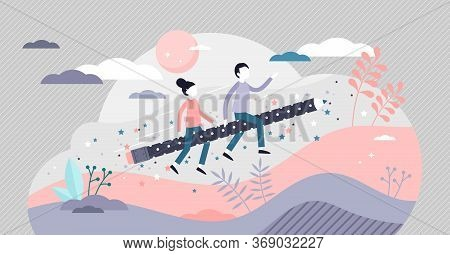 Kids Creativity Vector Illustration. Child Imagination Flat Tiny Person Concept. Mind And Thought Fl