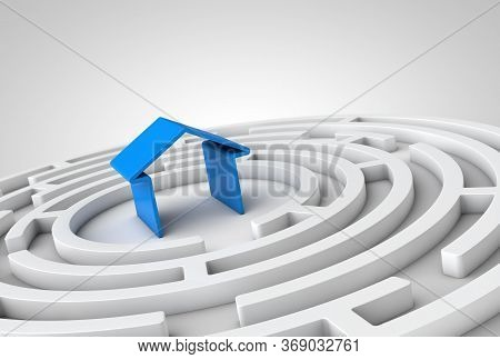 White Concentric 3d Maze With A Blue House In The Center