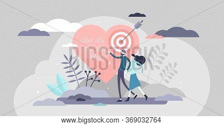 Relationship Goals Vector Illustration. Couple Life Target Achievement Flat Tiny Persons Concept. Ab