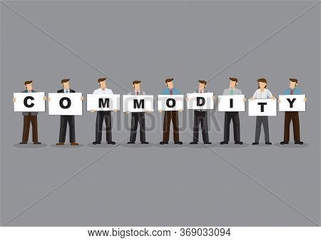 Illustration Of Business Man And Woman Holding White Board Cards Title Commodity. Full Length On Gre