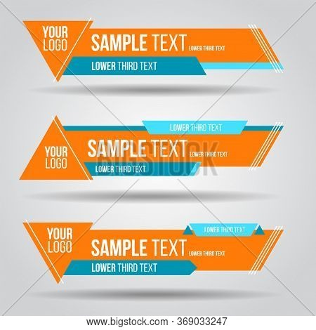Lower Third Colorful Tv Design Template Modern Contemporary. Set Of Banners Bar Screen Broadcast Bar