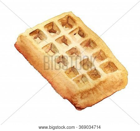 Delicious Waffle. Watercolor Illustration Isolated On White Background.