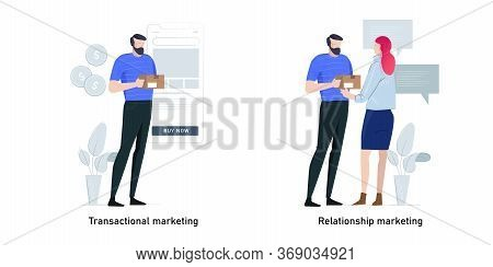 Marketing Strategies Metaphor Concept Vector Illustration Set. Transactional Marketing And Relations