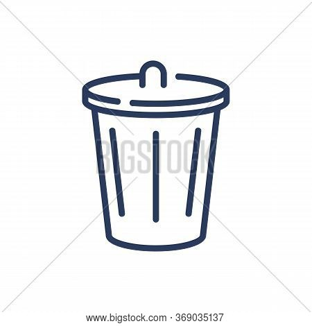 Dustbin Thin Line Icon. Dumpster, Wastebasket, Trash Bin Isolated Outline Sign. Household, Cleaning