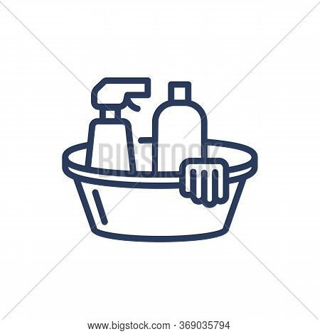 Detergents Thin Line Icon. Bottles, Spray, Basin, Gloves Isolated Outline Sign. Cleanup, Housekeepin