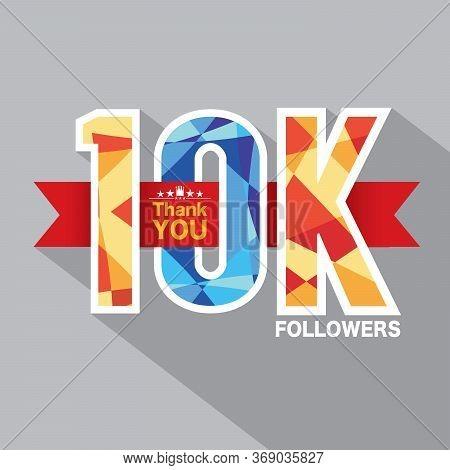 10k Followers Banner For Celebrating Followers Social Media Networks Vector Illustration. Eps 10