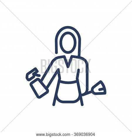 Woman With Detergent And Duster Thin Line Icon. Housewife, Maid, Cleaner Isolated Outline Sign. Clea