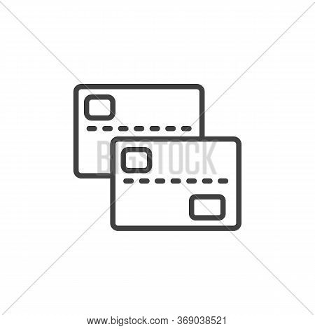 Two Bank Cards Line Icon. Linear Style Sign For Mobile Concept And Web Design. 2 Credit Cards Outlin