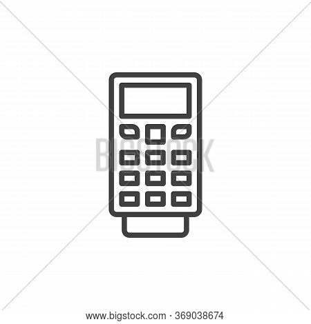 Payment Terminal Line Icon. Linear Style Sign For Mobile Concept And Web Design. Pos Terminal With C