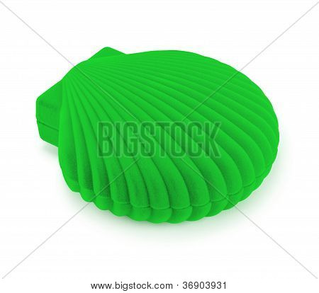 Green Gift Box In The Shape Of Seashells