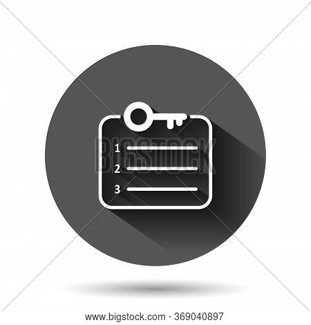 Password Account Icon In Flat Style. Keyword Vector Illustration On Black Round Background With Long