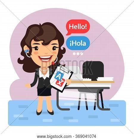 Cartoon Language Translator Concept With Businesswoman Says Hello Standing In Front Of The Desk In O