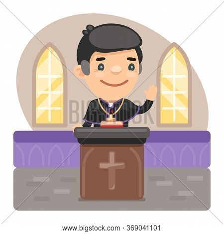 Cartoon Catholic Priest With Bible Preaching At Church. Holy Father In Robe. Composition With A Prof