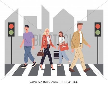 Pedestrians Crossing City Street. Zebra, Crosswalk, Traffic Light Flat Illustration. Urban Life, Saf