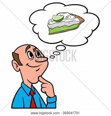 Thinking About Key Lime Pie - A Cartoon Illustration Of A Man Thinking About A Slice Of Key Lime Pie
