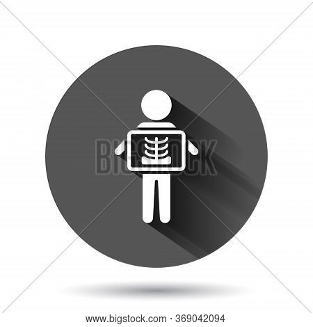 X-ray Icon In Flat Style. Radiology Vector Illustration On Black Round Background With Long Shadow E