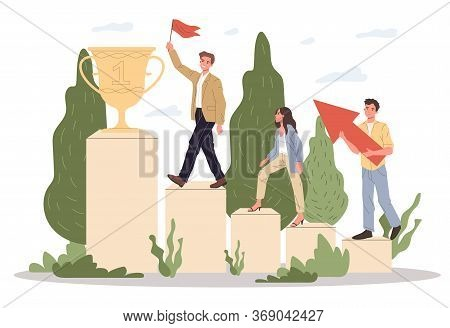 Successful Team Winning Award. Winners Walking Upstairs On Podium To Prize Cup Flat Illustration. Le