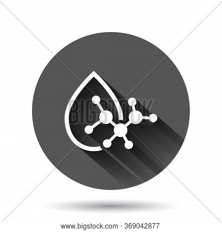 Acid Molecule Icon In Flat Style. Dna Vector Illustration On Black Round Background With Long Shadow