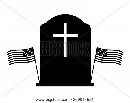 Memorial Day Tombstone With Two Us Flags. Black And White Pictogram Depicting Tombstone With Two Ame