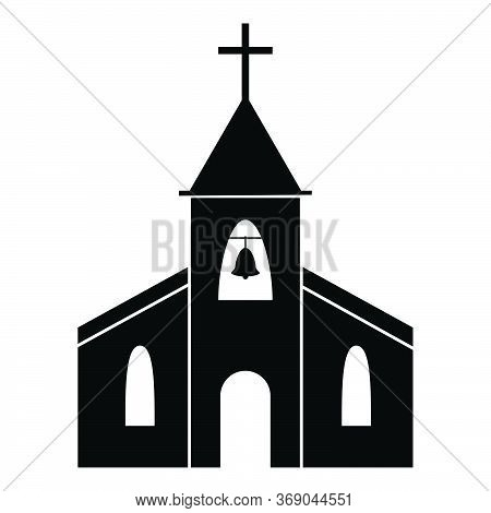 Church Icon. Black And White Pictogram Depicting Christian Church With Cross And Bell. Place Of Wors