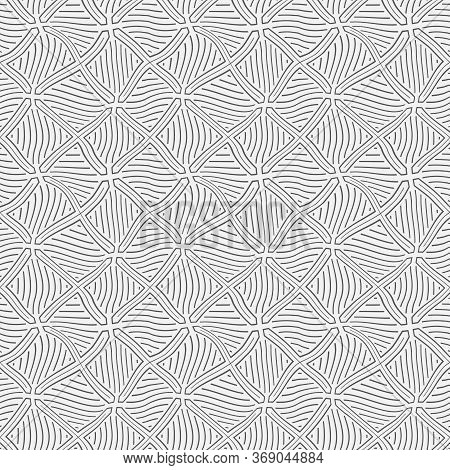 Seamless Geometric Vector Template. Abstract Linear Drawing With The Distorted Lines. Graphic Design