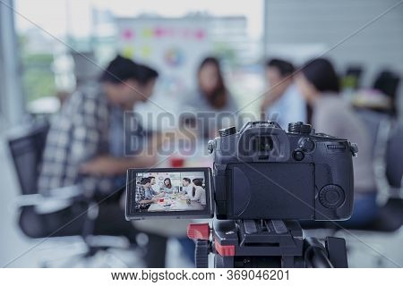 Technology Meeting Tele Conference By Video Equipment Modern Camera Make Digital Media. People Busin