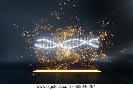 Futuristic hologram of uncertain genes attacking DNA chain spiral that float over a smartphone screen. 3D render.