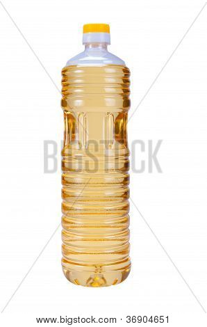 Sunflower Oil In Plastic Bottle Isolated