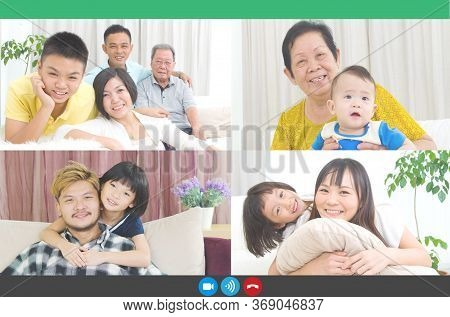Headshot Portrait Screen Application View Of Happy Diverse Family People Talk On Video Call Online U
