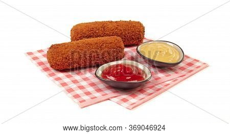 Brown Crusty Dutch Kroket With Sauces (mustard And Ketchup) Isolated On A White Background