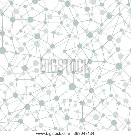 Neural Network Seamless Pattern. Neural Network Of Nodes And Connections. Vector Illustration On Whi