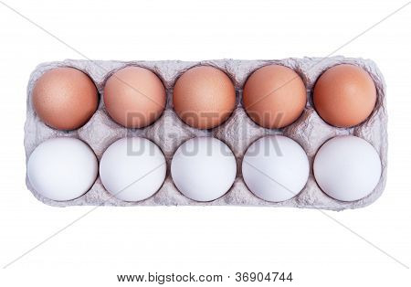 Ten White And Brown Chicken Eggs In A Carton Box