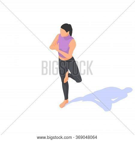 Girl Doing Yoga In Vrikshasana Pose On A White Background.