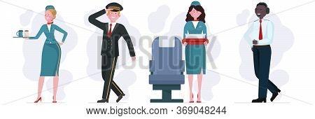 Air Crew Set. Stewardess, Pilot, Captain Flat Illustration. Airliner Staff, Occupation, Travel Conce