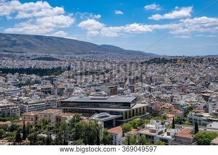 Acropolis Museum And Athens Cityscape Aerial Birds Eye View, Athens, Greece