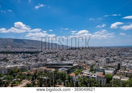 Athens, Greece Cityscape And Acropolis Museum Aerial Birds Eye View,