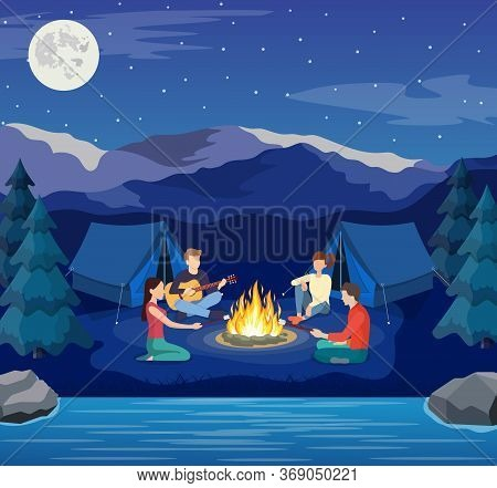 Group Of Young People Are Sitting Around Campfire. Young Tourists, Campers Cartoon Characters. Man P